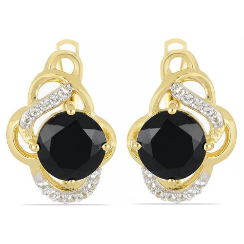 GOLD PLATED SILVER EARRINGS WITH 5.00 CT BLACK ONYX #VE033327