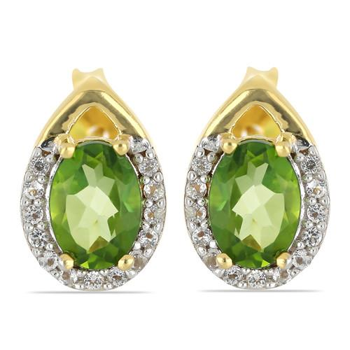 GOLD PLATED SILVER EARRINGS WITH 1.44 CT PERIDOT #VE032670