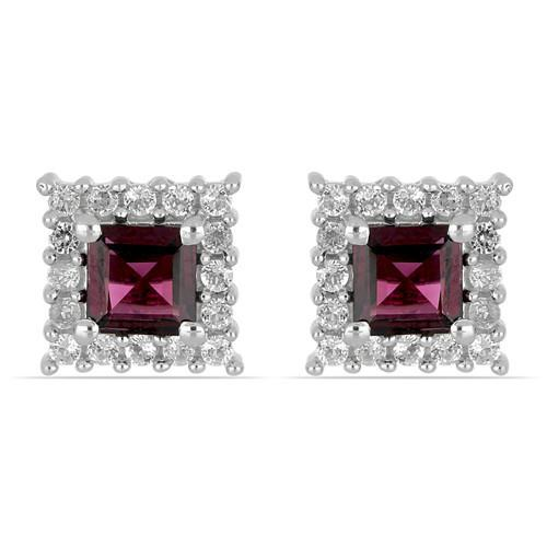 1.40 CT RHODOLITE STERLING SILVER EARRINGS #VE032771