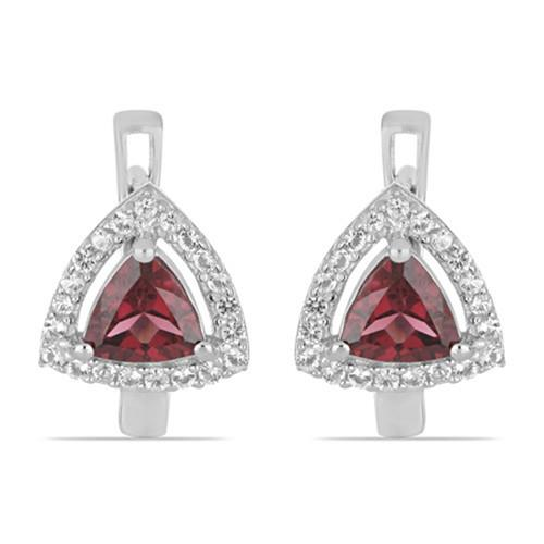1.80 CT RHODOLITE STERLING SILVER EARRINGS #VE032904