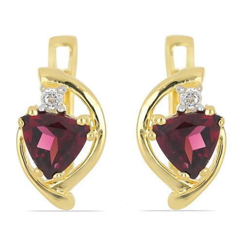 GOLD PLATED SILVER EARRINGS WITH 1.80 CT RHODOLITE #VE032903