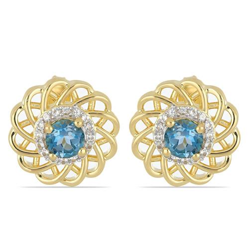 GOLD PLATED SILVER EARRINGS WITH 1.10 CT SWISS BLUE TOPAZ #VE032811