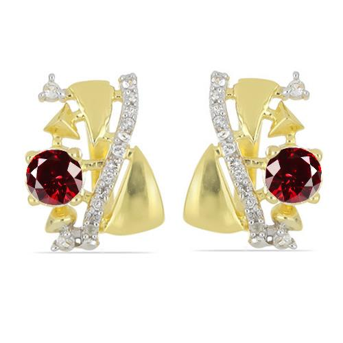 GOLD PLATED SILVER EARRINGS WITH CT GARNET #VE032858