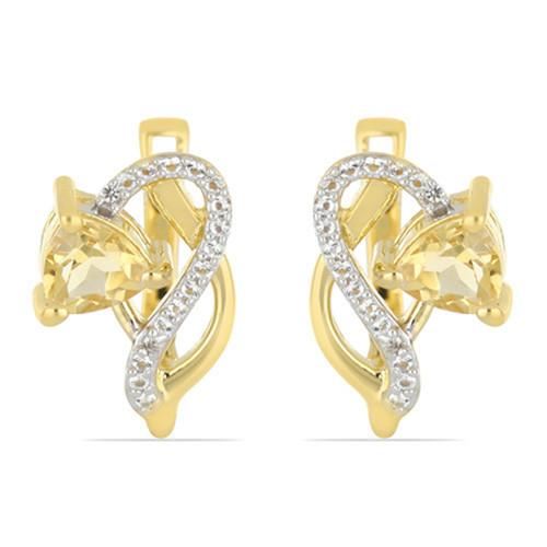 GOLD PLATED SILVER EARRINGS WITH 1.50 CT CITRINE #VE032989