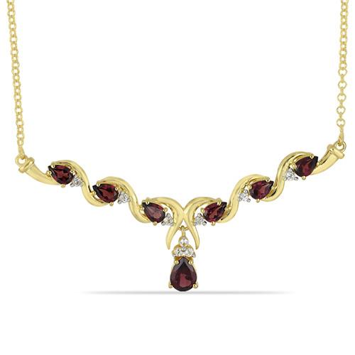 GOLD PLATED SILVER NECKLACE WITH 4.10 CT GARNET #VNECK032913