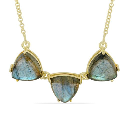 13.80 CT LABRADORITE 45 CM GOLD PLATED SILVER NECKLACE WITH FISH LOCK #VNECK033313