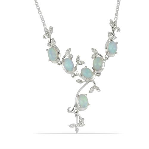 4.32 CT ETHIOPIAN OPAL SILVER NECKLACE #VNECK033531