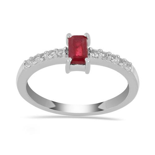 0.35 CT GLASS FILLED RUBY SILVER RING #VR034674