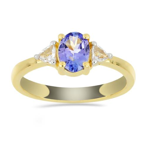 0.71 CT TANZANITE GOLD PLATED SILVER RINGS  #VR034082