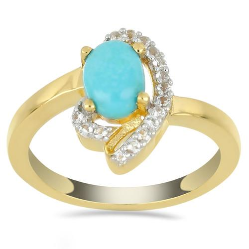 0.72 CT NATURAL BLUE TURQUOISE GOLD PLATED SILVER RING #VR033200