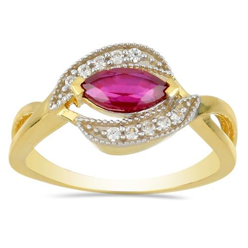 14K GOLD RINGS WITH 0.81 CT GLASS FILLED RUBY, 0.10 CT G-H,I2-I3 WHITE DIAMOND #VR031232