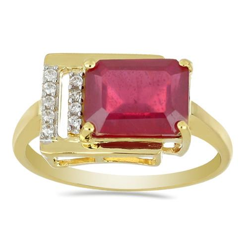 14K GOLD RINGS WITH 3.32 CT GLASS FILLED RUBY, 0.06 CT G-H,I2-I3 WHITE DIAMOND #VR031205