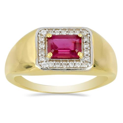 14K GOLD RINGS WITH 1.37 CT GLASS FILLED RUBY, 0.18 CT G-H,I2-I3 WHITE DIAMOND #VR031231