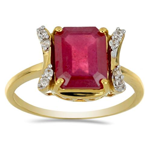 14K GOLD RINGS WITH 4.79 CR GLASS FILLED RUBY, 0.11 CT G-H,I2-I3 WHITE DIAMOND #VR031213