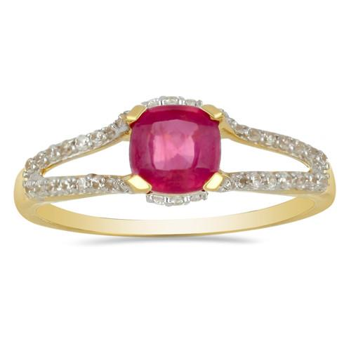 14K GOLD RINGS WITH 1.50 CT GLASS FILLED RUBY, 0.27 CT G-H,I2-I3 WHITE DIAMOND #VR031229