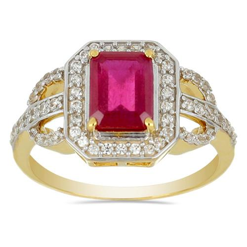 14K GOLD RINGS WITH 0.42 CT G-H, I2-I3 WHITE DIAMOND, 2.33 CT GLASS FILLED RUBY #VR031225