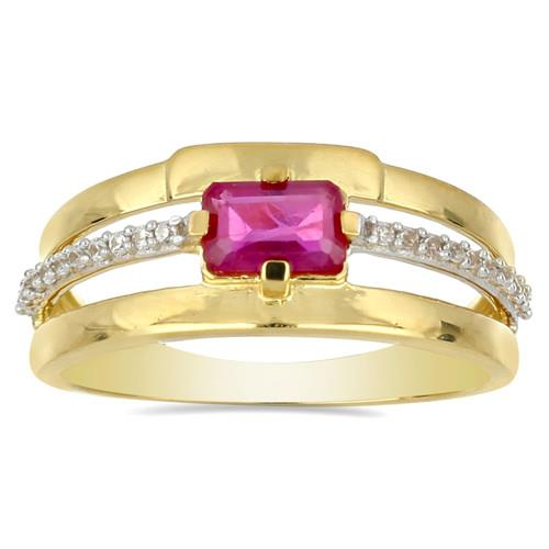 14K GOLD RINGS WITH 0.69 CT GLASS FILLED RUBY, 0.10 CT G-H,I2-I3 WHITE DIAMOND #VR031223