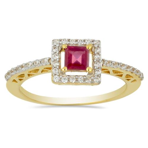 14K GOLD RINGS WITH 0.28 CT G-H,I2-I3 WHITE DIAMOND ,0.52 CT GLASS FILLED RUBY, #VR031227