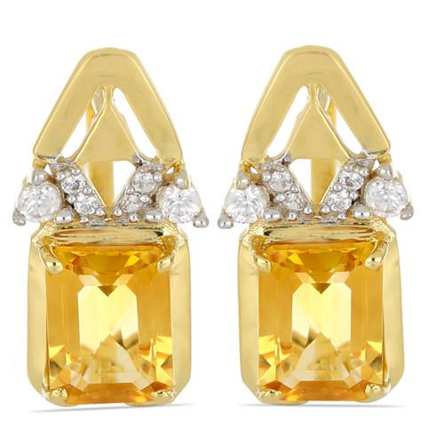 14K GOLD EARRINGS WITH 2.65 CT CITRINE,#VE031362