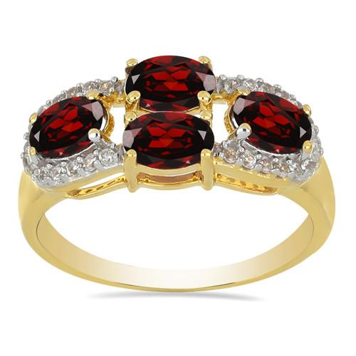 14K GOLD RINGS WITH 2.00 CT GARNET, 0.198 CT G-H,I2-I3 WHITE DIAMOND #VR033031