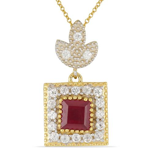 14K GOLD PENDANTS WITH 1.73 CT GLASS FILLED RUBY, 0.95 CT NATURAL WHITE ZIRCON #VP031248