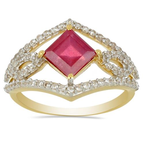 14K GOLD RINGS WITH 1.64 CT GLASS FILLED RUBY, 0.47 CT G-H,I2-I3 WHITE DIAMOND #VR031235