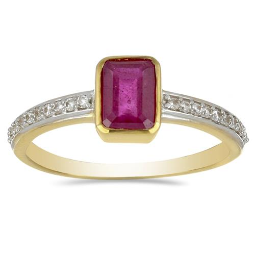 14K GOLD RINGS WITH 1.24 CT GLASS FILLED RUBY, 0.14 CT G-H,I2-I3 WHITE DIAMOND #VR031234