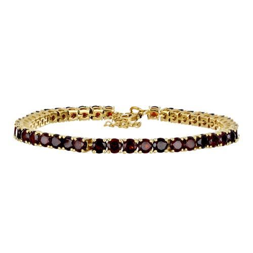 14.70 CT GARNET 19 CM GOLD PLATED SILVER BRACELET WITH FISH LOCK #VB032427