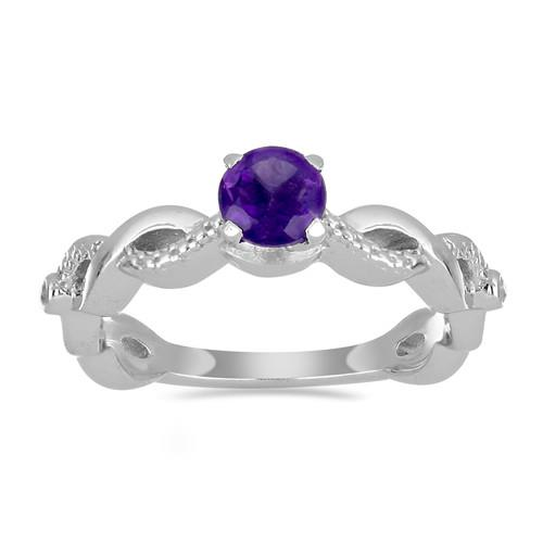 0.55 CT AFRICAN AMETHYST STERLING SILVER RINGS #VR028893