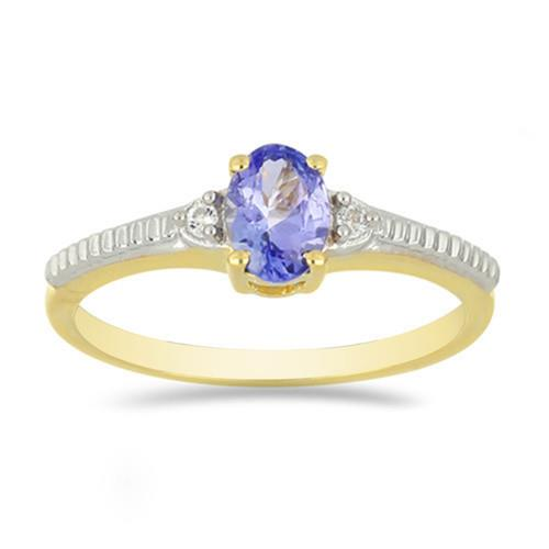 0.72 CT TANZANITE GOLD PLATED SILVER RINGS #VR034074