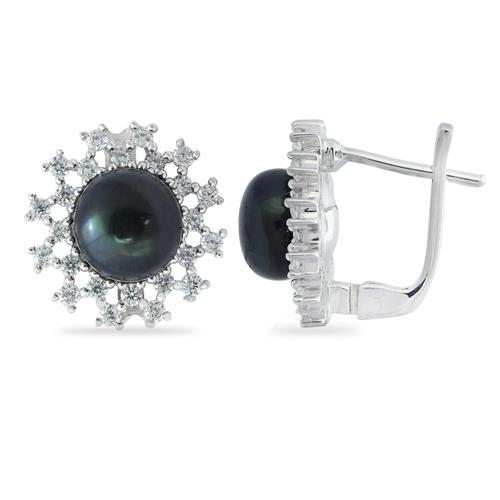 BLACK PEARL EARRINGS WITH WHITE ZIRCON #VE014143