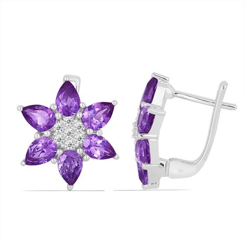 AFRICAN AMETHYST SILVER EARRING WITH WHITE ZIRCON #VE012173