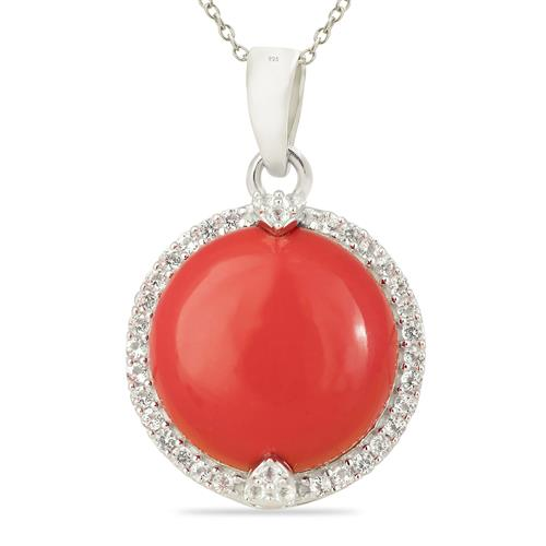 COMPRESSED RED CORAL PENDANT WITH ZIRCON #VP015573