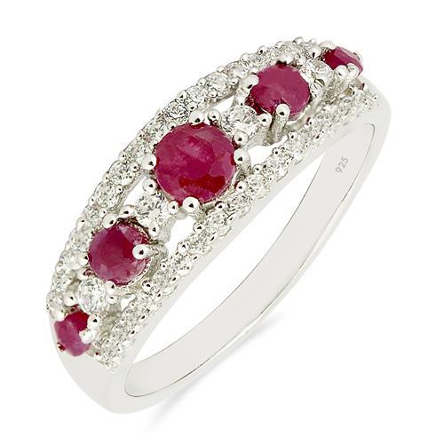0.79 CT RUBY SILVER RING # VR010568