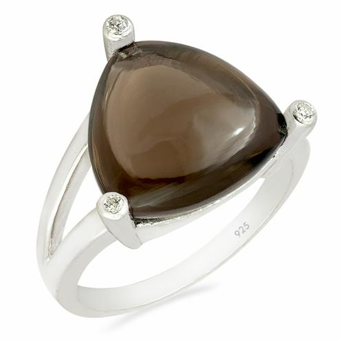 SMOKY RING WITH ZIRCON
