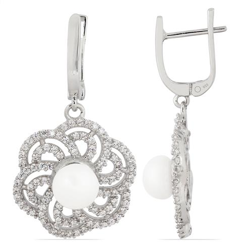 FRESH WATER WHITE PEARL SILVER EARRING WITH WHITE ZIRCON #VE010062