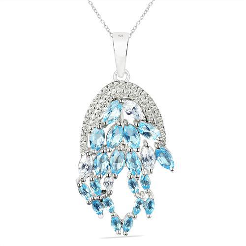 SWISS BLUE TOPAZ SILVER PENDANT WITH WHITE ZIRCON #VP025669