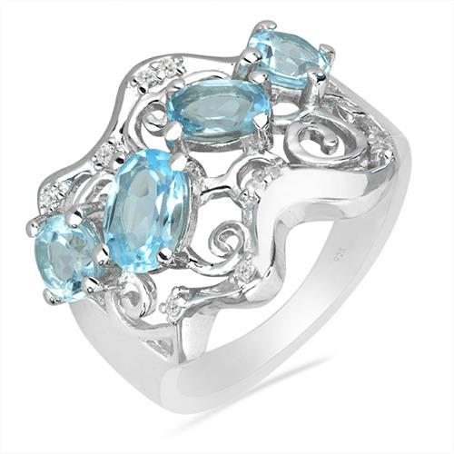 SKY BLUE TOPAZ SILVER RING WITH WHITE ZIRCON #VR025885