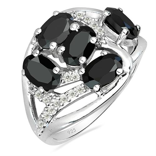 BLACK ONYX SILVER RING WITH WHITE ZIRCON #VR025902