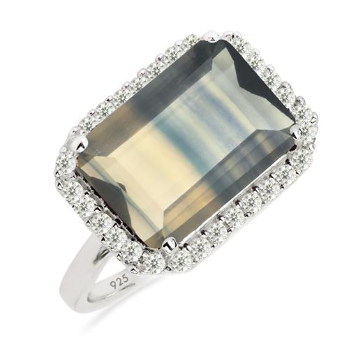 7.10 ct BI BROWN COLOUR FLUORITE SILVER RING WITH  #VR017384