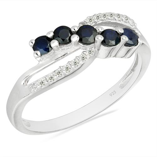 BLUE SAPPHIRE SILVER RING WITH WHITE ZIRCON #VR026296