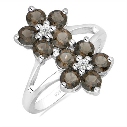 SMOKY SILVER RING WITH WHITE ZIRCON #VR016717