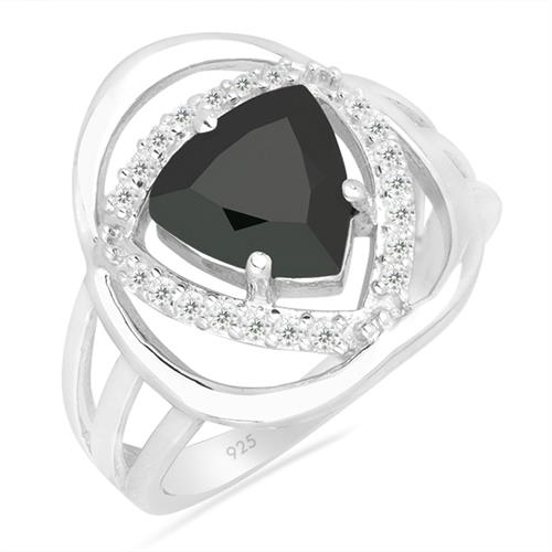 BLACK ONYX SILVER RING WITH WHITE ZIRCON #VR026448