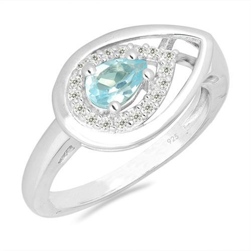 SKY BLUE TOPAZ SILVER RING WITH WHITE ZIRCON #VR026951