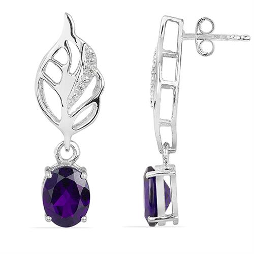 AFRICAN AMETHYST SILVER EARRING WITH WHITE ZIRCON #VE018125