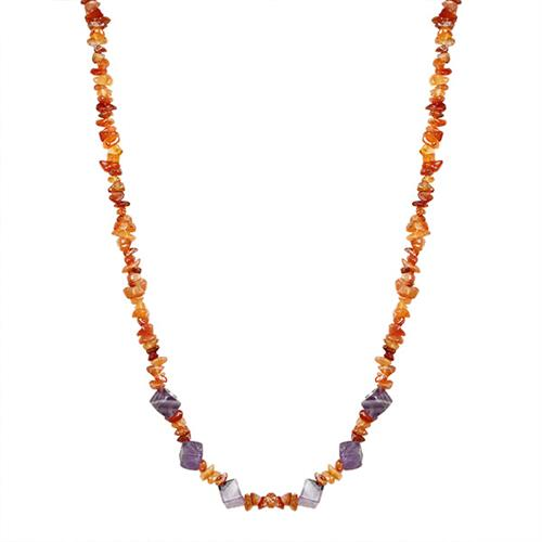 NATURAL CARNELIAN NUGGETS AND AMETHYST CUBES 32 INCHES NECKLACE #VBJ010033