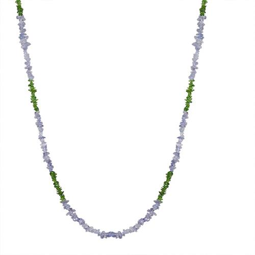 NATURAL TANZANITE AND CHROME DIOPSITE NUGGETS 32 INCHES NECKLACE #VBJ010034