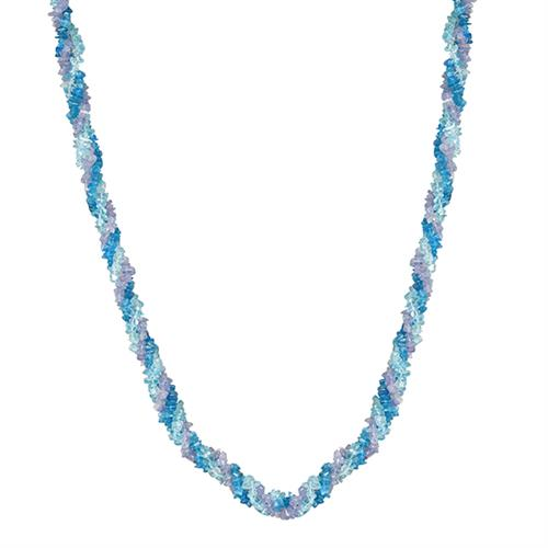 NATURAL TANZANITE, NEON AND SKY APATITE NUGGETS 32 INCHES NECKLACE #VBJ010039