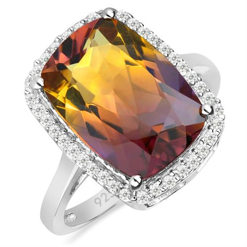 6.10 CT SYNTHETIC AMETRINE SILVER RING WITH WHITE ZIRCON #VR027491