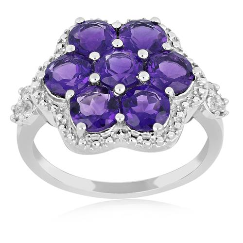 AFRICAN AMETHYST SILVER RING WITH WHITE ZIRCON #VR019899